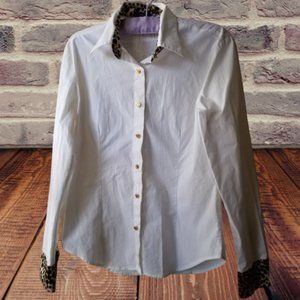 White Button Down Shirt with Back Graphic Size L